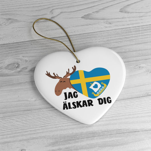 I Love You Sweden Christmas Tree Ornament - Jag älskar dig - Swedish Ornament