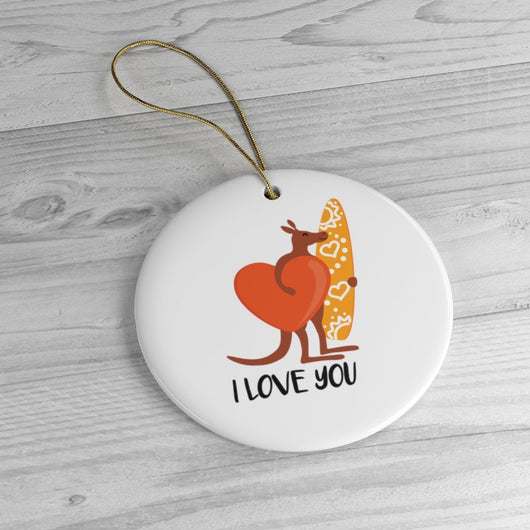 Australian I Love You Kangaroo Ornament - Holiday Ceramic Tree Ornament - Australian Gift Idea  - Australia