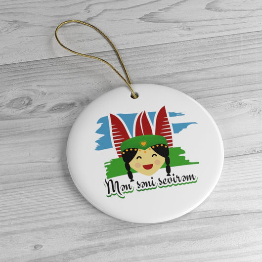 I Love You Holiday Ceramic Tree Ornament - Azerbaijani Gift Idea  - Azerbaijan