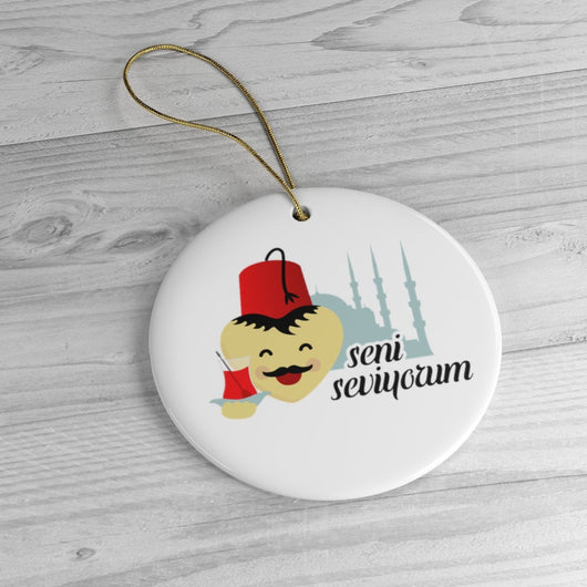 Turkish Ornament - Holiday Ornament For Christmas Tree - Ceramic Ornament - Turkey - I Love You