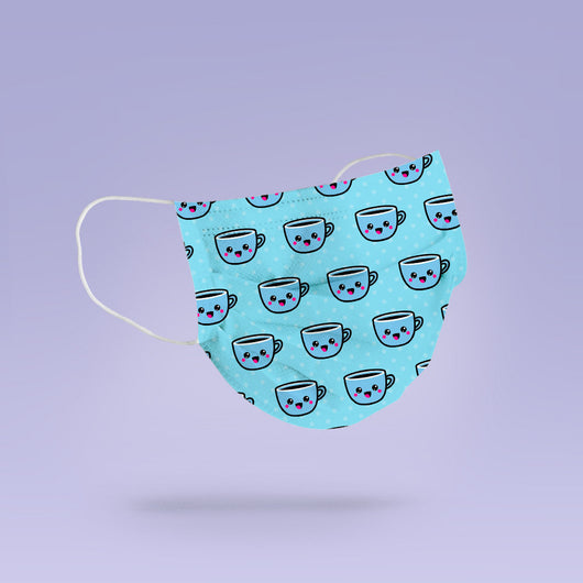 Blue Washable & Reusable Cute Coffee Face Mask Cover