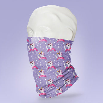 Washable & Reusable Unicorn Themed Purple Mask - Gaiter Face Shield - Face Mask - Face Buff - Snood - Face Gator