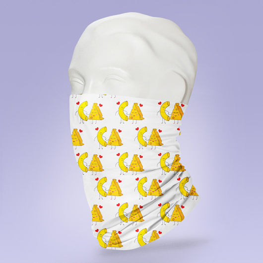 Washable & Reusable Cute Macaroni and Cheese Print - Gaiter Face Shield - Face Mask