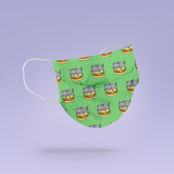 Washable & Reusable Green Cat Burger Face Mask Cover