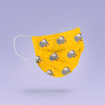 Washable & Reusable Yellow Possum Cloth Face Mask - Cute Face Masks