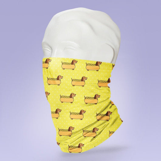 Washable & Reusable Yellow Hot Dog  Mask - Face Shield - Face Mask