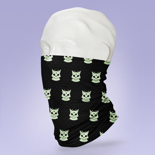 Washable & Reusable Black Alien Cat  - Gaiter Face Shield - Face Mask