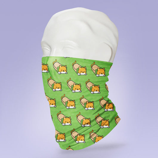 Washable & Reusable Cat Burrito - Gaiter Face Shield - Face Mask - Cat Burrito Themed