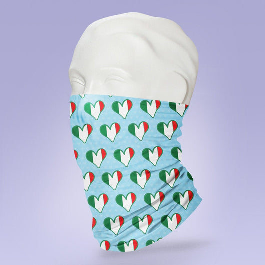 Washable & Reusable Italian Hearts  - Italy Themed Face Shield - Face Mask