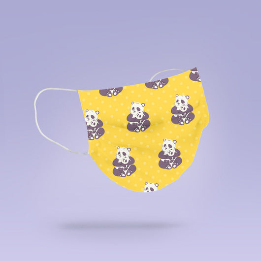 REUSABLE FACE MASK - Soft, Cloth, Yellow Panda Design, Washable, Re-Usable - Adult Mouth Cover - Panda Face Mask