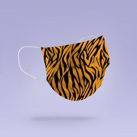 REUSABLE FACE MASK - Soft, Cloth, Tiger Print Design, Washable, Re-Usable - Adult Mouth Cover -  Tiger Print Face Mask