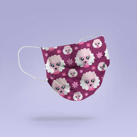 REUSABLE FACE MASK -  Soft, Cloth, Anti-Dust, Washable, Re-Usable, Pink Poodle Adult Mouth Cover - Poodle Face Mask