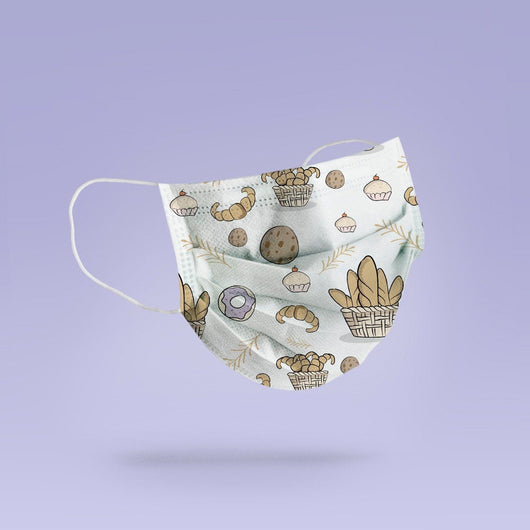 REUSABLE FACE MASK -  Soft, Cloth, Anti-Dust, Washable, Re-Usable, Bread Cupcake Adult Mouth Cover - Baker Face Mask
