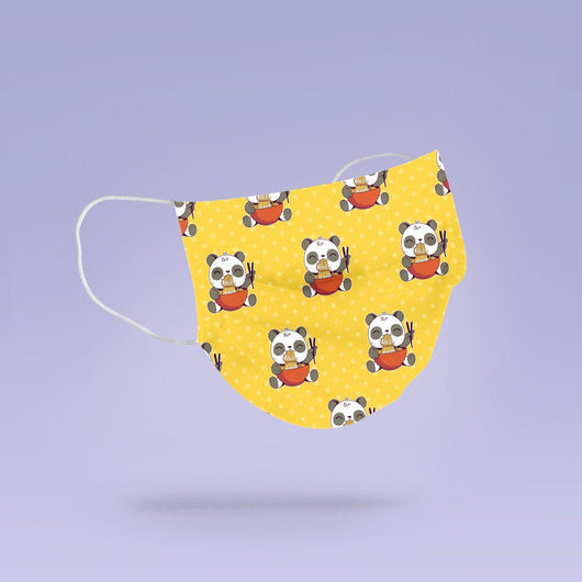 REUSABLE FACE MASK - Soft, Cloth, Washable, Re-Usable, Panda Eating Noodles Face Mask - Adult Mouth Cover - Panda Face Mask