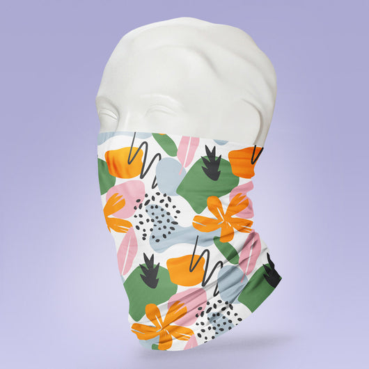 Washable & Reusable Cute and Trendy Flower Print - Gaiter Face Shield - Face Mask - Stylish Pattern