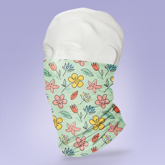 Washable & Reusable Pretty Trendy Flower Print - Gaiter Face Shield - Face Mask - Stylish Pattern