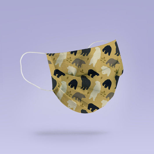 REUSABLE FACE MASK -  Soft, Cloth, Anti-Dust, Washable, Re-Usable, Bear Adult Mouth Cover - Bear Face Mask