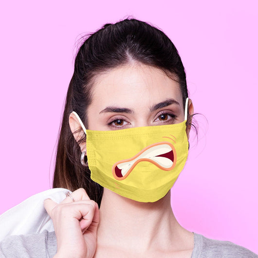 Washable & Reusable Scared Face Mouth Mask - Kawaii Face Mask -  Mask Cover - Funny Masks - Funny Face Mask