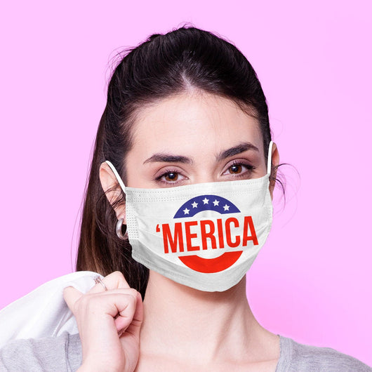 Washable & Reusable 'Murica Face Mouth Mask - America Face Mask -  Mask Cover - Funny Masks - Funny Face Mask - 'Murica Face Mask