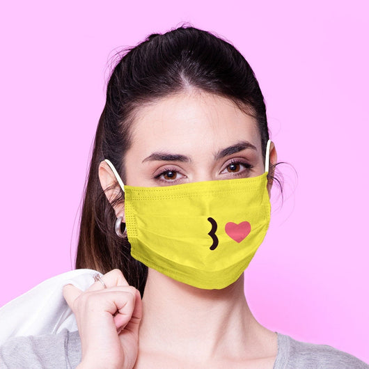 Washable & Reusable Kissy Face Emoji Mouth Mask - Kawaii Face Mask -  Mask Cover - Funny Masks - Funny Face Mask