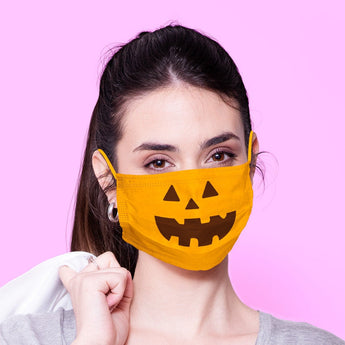 Washable & Reusable Halloween Pumpkin Face Mask Emoji Mouth Mask - Kawaii Face Mask -  Mask Cover - Funny Masks - Funny Face Mask
