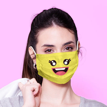 Washable & Reusable Funny Yellow Happy Face Emoji Face Mask - Kawaii Face Mask -  Mask Cover - Funny Masks - Funny Face Mask
