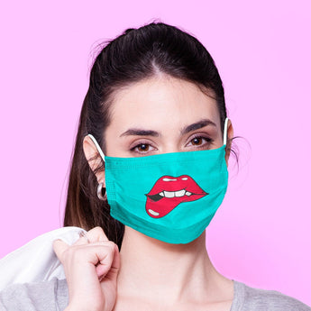 Washable & Reusable Blue Lip Bite Kawaii Face Mouth Mask - Kawaii Face Mask -  Mask Cover - Funny Masks - Funny Face Mask