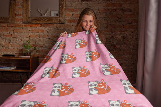 Cute Fox and Panda Fleece Blanket - Cute Gift For Panda and Fox Lovers - [Small / Medium / Large]