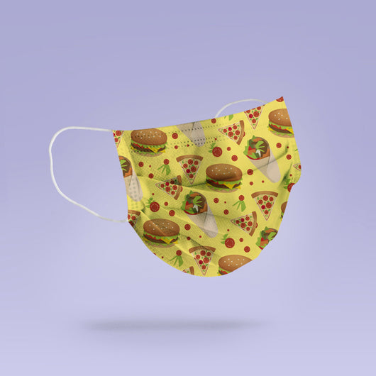 Washable & Reusable Kebab, Pizza and Burger Face Mask Cover - Burger Mask - Kebab Pattern Mask