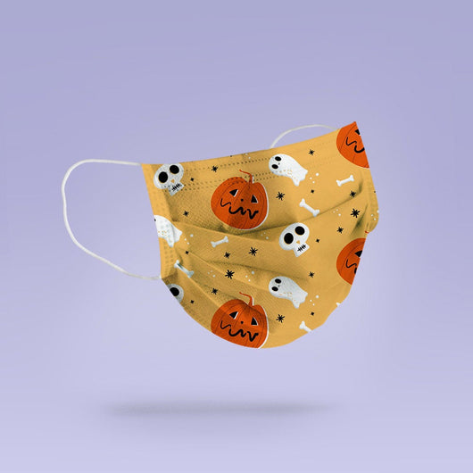 Washable and Reusable Ghost and Pumpkin Halloween Face Mask Emoji Mouth Mask - Halloween Cloth Face Mask -  Mask Cover - Funny Masks