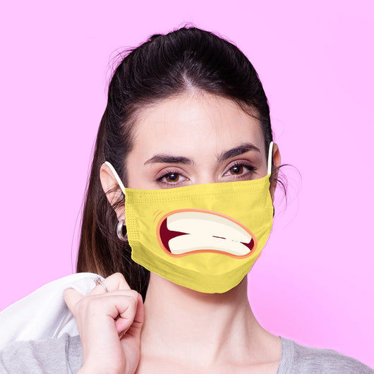 Washable & Reusable Yellow Grinning Mouth Mask - Kawaii Face Mask -  Mask Cover - Funny Masks - Funny Face Mask