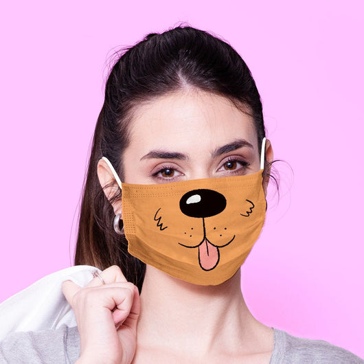 Washable & Reusable Brown Dog Face Mouth Mask - Kawaii Face Mask -  Mask Cover - Funny Masks - Funny Face Mask
