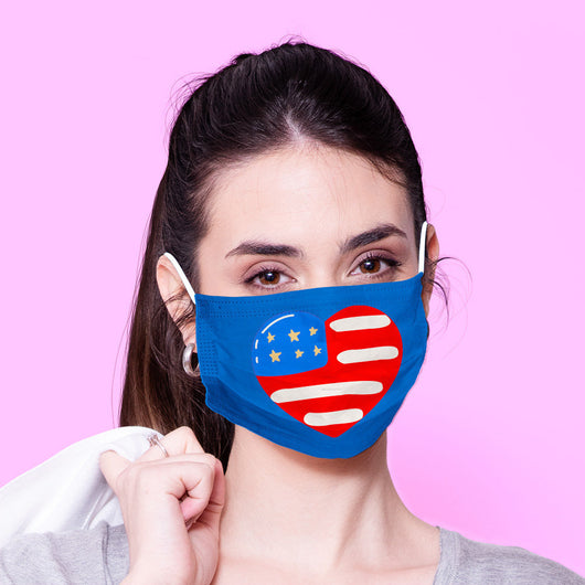 Washable & Reusable American Flag Mask - 4th of July  Mask - Blue Kawaii Face Mask -  Mask Cover - Funny Masks - Funny Face Mask