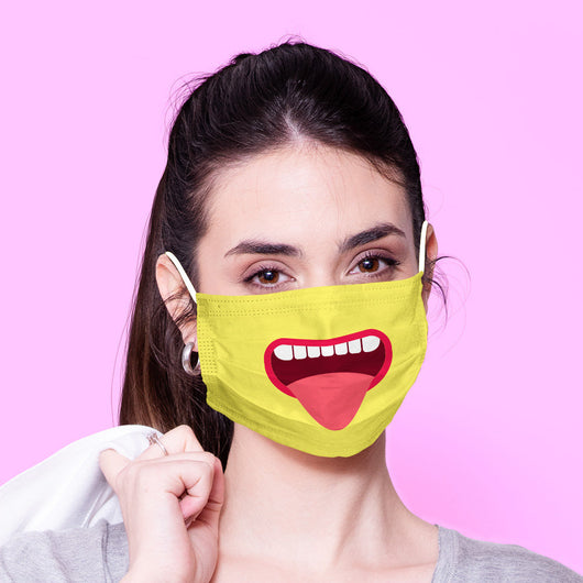 Washable & Reusable Funny Face Mouth Mask - Yellow  Kawaii Face Mask -  Mask Cover - Funny Masks - Funny Face Mask -  Mouth Face Mask