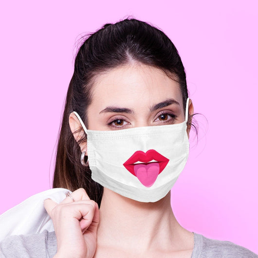 White Washable & Reusable Kissy Face Kawaii Face Mouth Mask - Kawaii Face Mask -  Mask Cover - Funny Masks - Funny Face Mask
