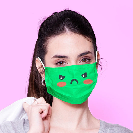 Washable & Reusable Green Angry Face Emoji Face Mask - Kawaii Face Mask -  Mask Cover - Funny Masks - Funny Face Mask