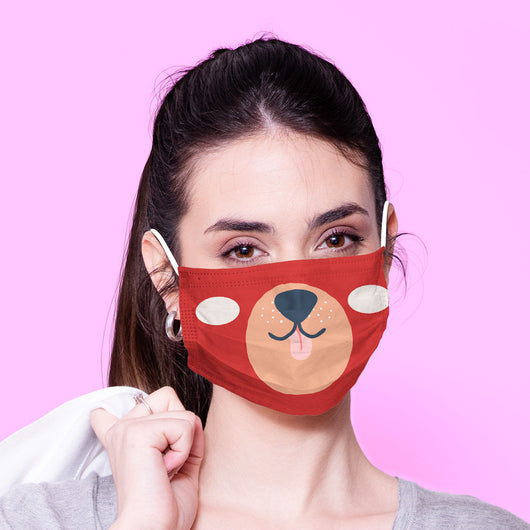 Washable & Reusable Red Funny Bear Mask Kawaii Face Mouth Mask - Kawaii Face Mask -  Mask Cover - Funny Masks - Funny Face Mask