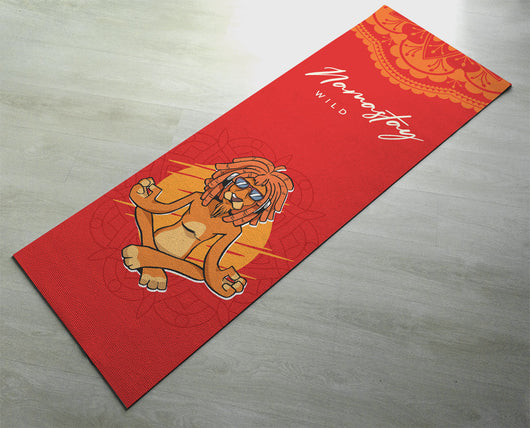 Namastay Wild Cool Lion Yoga Mat - Fitness Mat - Red Color Funny Lion Restorative Yoga Mat
