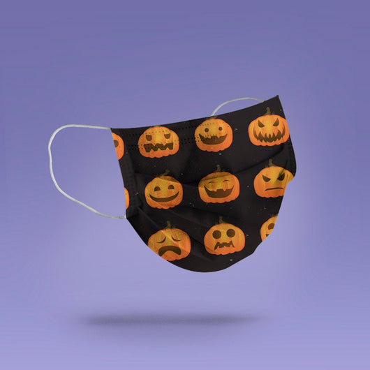 Washable & Reusable Demon and Cute Pumpkins - Scary Pumpkin Halloween Face Mask  -  Goth Face Mask Cover