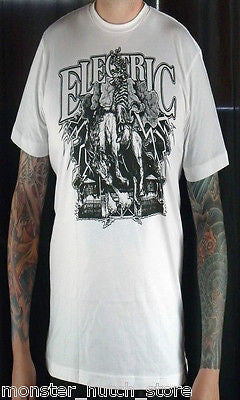BRAND NEW WITH TAGS Electric California SENTENCE Tee Shirt MEDIUM-XLARGE WHITE