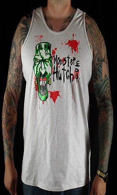 BRAND NEW Monster Hutch BLOOD SPATTER Tank Top MEDIUM-2XLARGE LIGHT GREY LIMITED