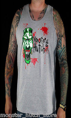 BRAND NEW Monster Hutch BLOOD SPATTER Tank Top MEDIUM-2XLARGE GREY LIMITED RARE