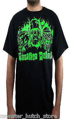 BRAND NEW Monster Hutch MONSTER Tee BLACK/GREEN LARGE LIMITED RELEASE RARE