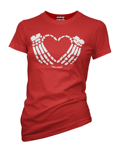 WOMENS AESOP CRIMSON HEART TEE SHIRT RED