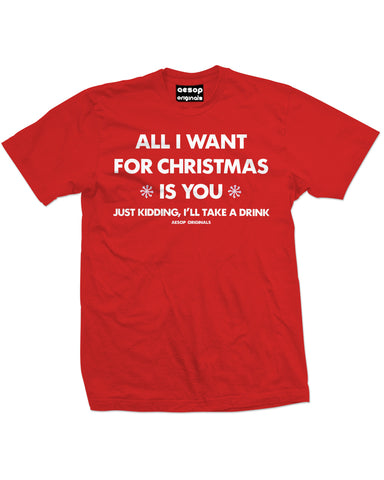 AESOP ORIGINALS ALL I WANT FOR CHRISTMAS TEE SHIRT RED