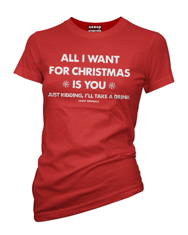 WOMENS AESOP ORIGINALS ALL I WANT FOR CHRISTMAS TEE SHIRT RED