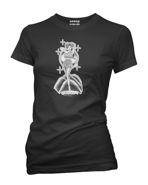 WOMENS AESOP ORIGINALS ARIES RETRO ZODIAC TEE SHIRT BLACK