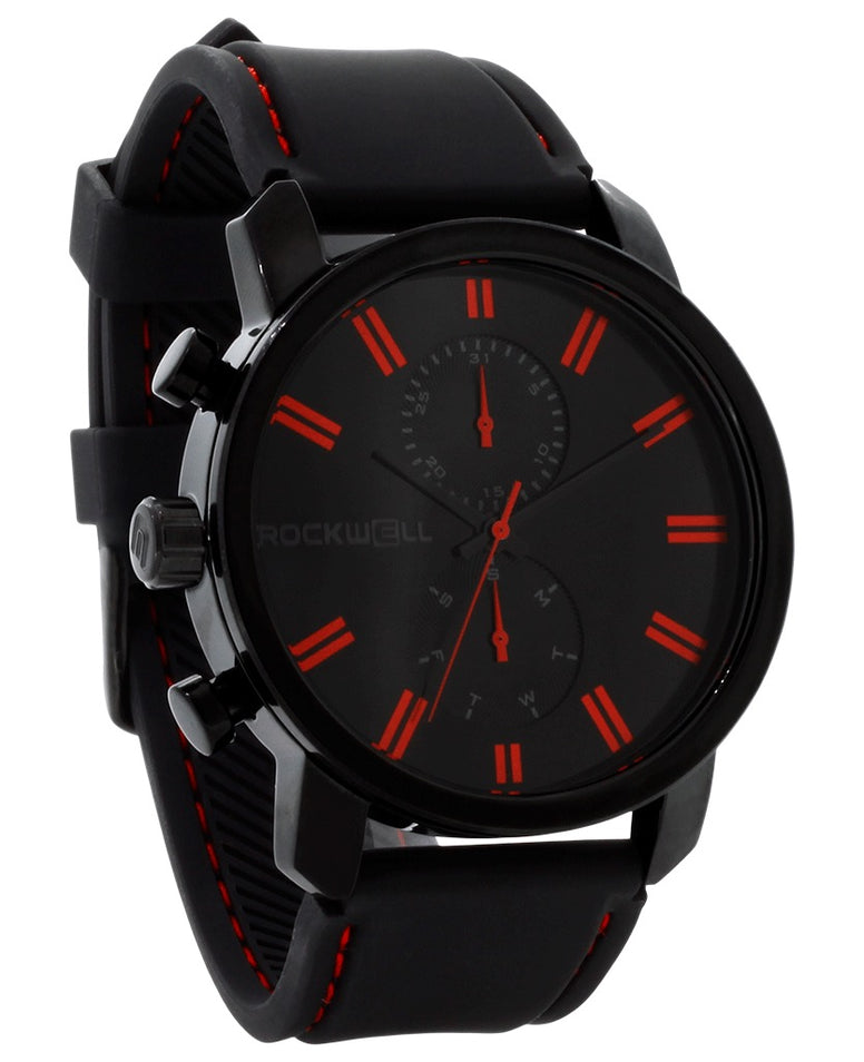ROCKWELL THE APOLLO WATCH BLACK RED SILICONE