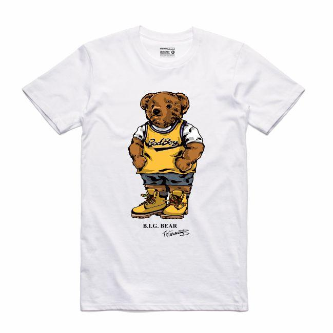 Streetwear on Demand BEAR BIGGIE TEE WHITE