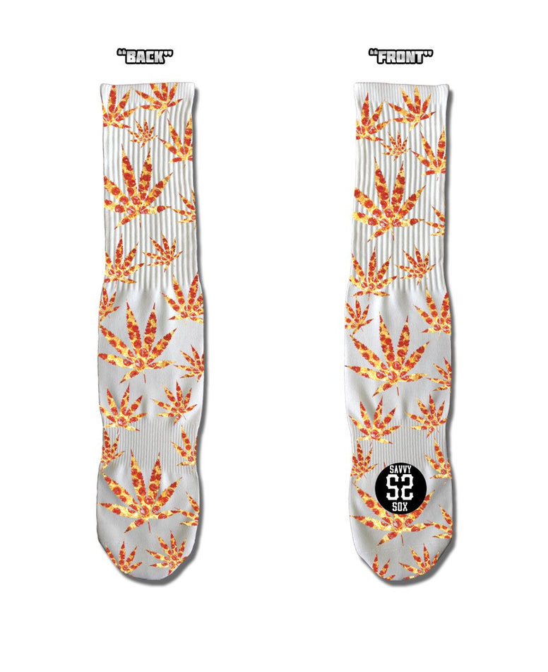 SAVVY SOX CANNABIS LEAVES PIZZA SOCKS